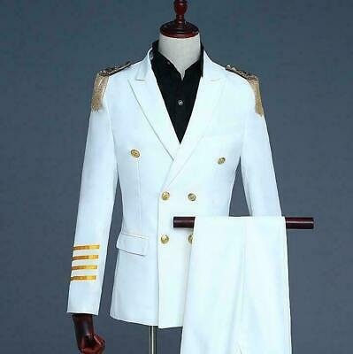Mens Captain Uniform Suit Double-breasted Dress Tassel Host Coats Pants 2pcs A25