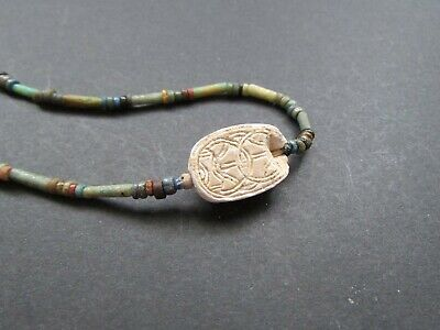 NILE  Ancient Egyptian Scarab Amulet Mummy Bead Neckace ca 600 BC