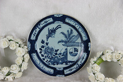 Antique DELFT blue white pottery 18thc plate birds decor rare