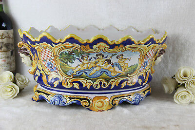 Gorgeous antique FRENCH MONTAGNON faience de nevers Planter jardiniere putti