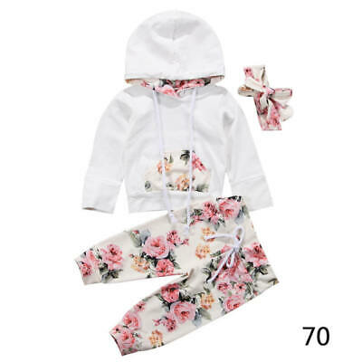 3x Infant Newborn Kids Baby Floral Clothes Hooded Tops Pants Outfits S FDE