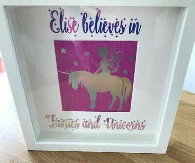 Fairies And Unicorns Personalised Picture Frame Nursery Decor Girls Word Art