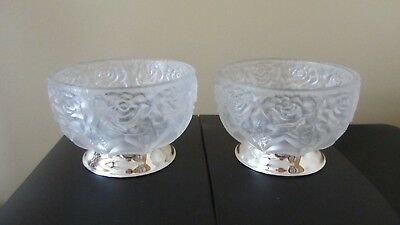 Beautiful Crystal Rose Frosted Bowl 24% Lead Crystal Silver Plate Bottom