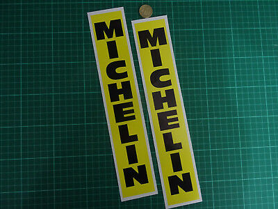 2 x MICHELIN Vertical Text Stickers Yellow 300mm Black Classic Bike Fork