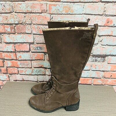 96e2e319332 ED HARDY WOMENS Fur Lined Brown Suede Boots Size 5 - $24.95 | PicClick