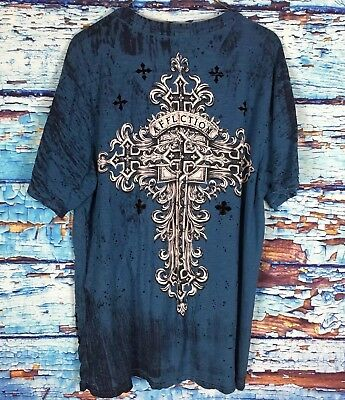 Archaic By Affliction Men's Tee Shirt Teal V Neck Short Sleeve Size XL