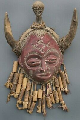 Chokwe Congo Zaire Old African Large Tribal Red Mask