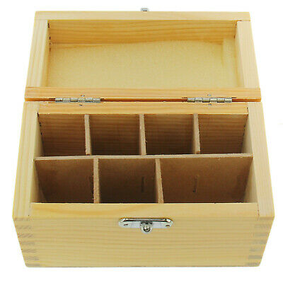 Wood Storage Box For Gold Silver Testing Acid Bottle & Stone 7 Slot Compartments