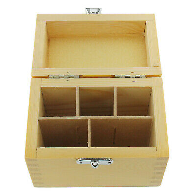 Wood Storage Box For Gold Silver Testing Acid Bottle & Stone 5 Slot Compartments