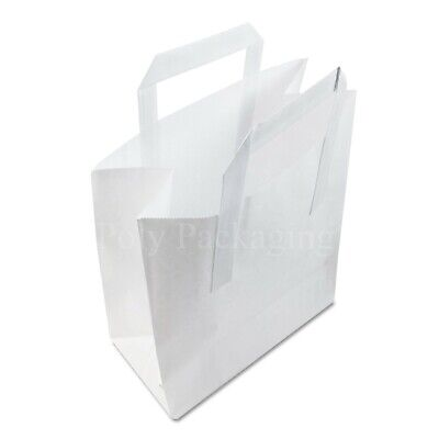 """(8x4x10"""")Medium WHITE PAPER CARRIER BAGS with HANDLES Sandwich/Lunch/Food/Fruit"""