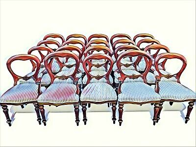Magnificent set 20 beautiful Victorian style Balloon back chairs French polished