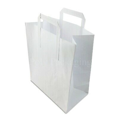 """(10x5.5x12.5"""")Large WHITE PAPER CARRIER BAGS with HANDLES Sandwich/Lunch/Food/Gi"""