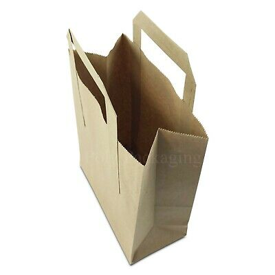 "(7x3.5x8.5"")Small BROWN PAPER CARRIER BAGS with HANDLES Party/Gift/Takeaway"