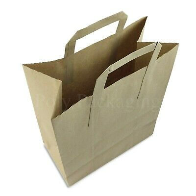 """(10x5.5x12.5"""")Large BROWN PAPER CARRIER BAGS with HANDLES Sandwich/Lunch/Food/Gi"""