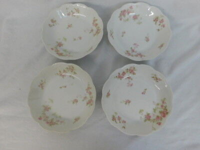"4 Haviland Limoges France Antique China Pink Flower 7.5"" Soup Cereal Bowls"
