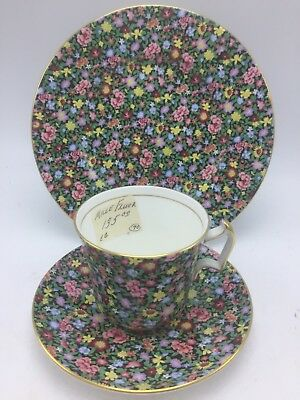Royal Chelsea Trio Cup & Saucer Plate Mille Fleurs English Bone Porcelain