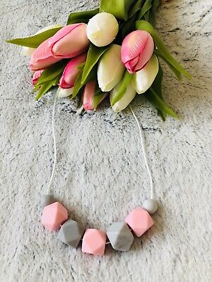 Teething necklace Baby Teething BPA free silicone necklace for Mum pink and grey