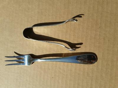 Pickle Fork & Sugar Tongs S Kirk & Son Old Maryland Plain Sterling Silver Monog