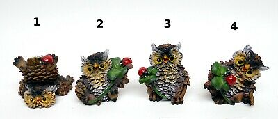 chouette, hibou, avec coccinelle, animal de collection, 5 cm, owl, uil   ***GT-C