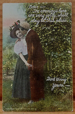 Vtg Postcard Dear Evenings Here Jolly Don't Worry Romance Courting Edwardian