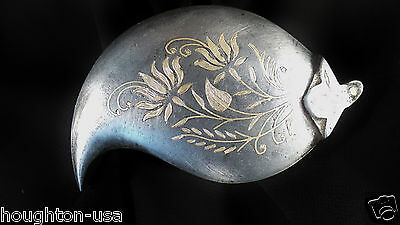 18th Century Antique Hinged Pewter Snuff Box w/ Inlaid Brass Floral Design