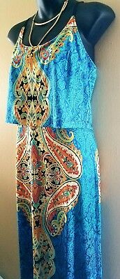 Striking Dress! Beautiful Colors!Perfect For Work Or Play!  Med. Freeship!