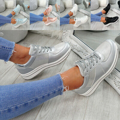Womens Ladies Lace Up Trainers Fashion Sneakers Plimsolls Casual Shoes Size