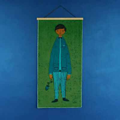 Vintage 1950s 1960s HUGE Teal Boy With Rose Fabric Wall Hanging - Signed