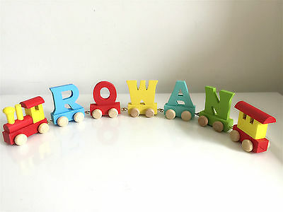Wooden alphabet Train Letter for Personalized name train as Christening gift