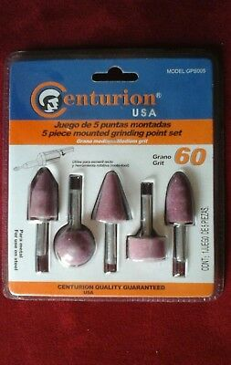 Grinding Points=5 Pieces,Set=Aluminum Oxide=60 Grit=For Use On Steel=Centurion=