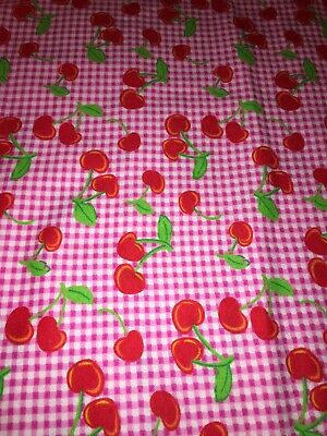 Red Gingham Cherries Cotton Flannel Fabric Quilting Crafting Apparel 4.5 Yards