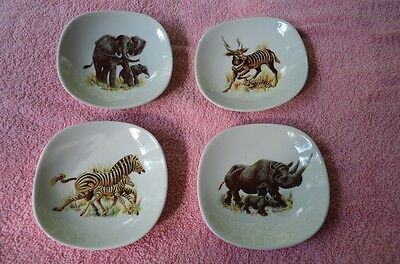 Rare Set Of 4 Schumann Arzberg Wild Animals Five Inch Plates