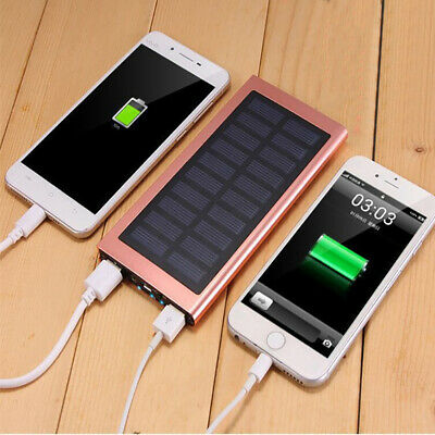 Dual USB Solar Power Bank Case Kit Ultra Thin 20000mAh Portable Charger Battery
