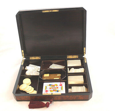 Napoleon III  Game Box-Mother of Pearl Chips and Tokens-Gentleman's Gift
