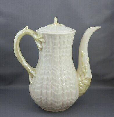 Belleek Tridacna Yellow Lidded Coffee Pot 3rd Green Mark