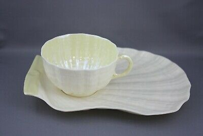 Belleek Yellow Tridacna Snack Plate 2nd Green Mark
