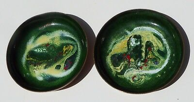 2 Vintage Enamel Copper Bowls Mid Century Modern Green Abstract Dish - Signed