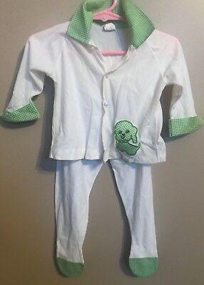 Vintage Baby Outfit Toddle Time Size 1 6-12 Months Green Plaid Dog Top Bottom