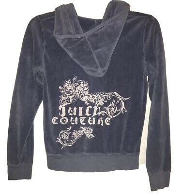 Juicy Couture Velour Tracksuit Jacket Size 14 XS Blue Pink
