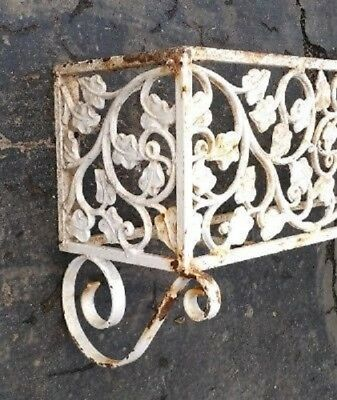 vtg 7 foot ornate old antique CAST IRON window FLOWER BOX HOLDER heavy duty