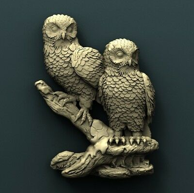3d STL Model Relief for CNC Router  _ (0346) Owl
