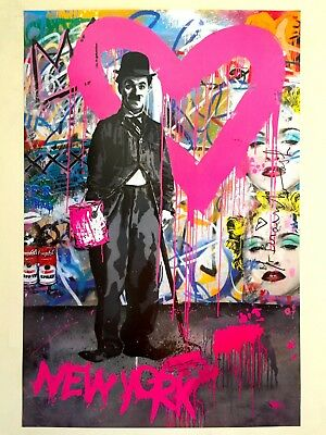 "Mr. Brainwash ""Charlie Chaplin Madonna"" Rare Authentic Lithograph Print Poster"