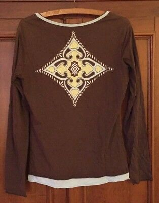 899c8535a12 ATHLETA Brown/Aqua V-Neck Layered Long Sleeve Top Back Embroidered Appliqué