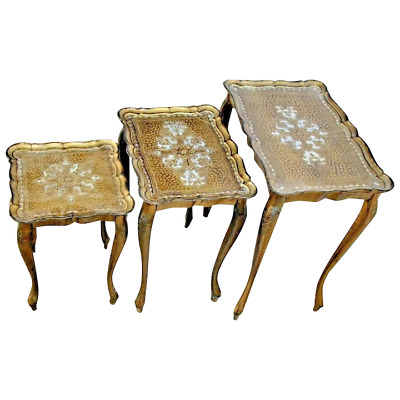 Gorgeous Mid Century set of Three Italian Nesting Tables wood legs bakelite top