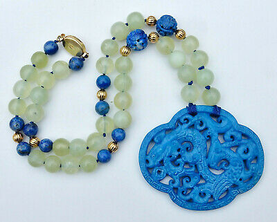 """Vintage Chinese Pale Celadon Jade Dragon Necklace Hand Knotted Lapis Beads 20"""""""