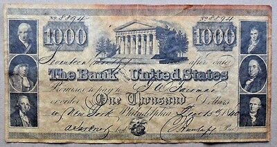 1840 Bank of United States $1,000 Reproduction Aged Paper Souvenir note Bill