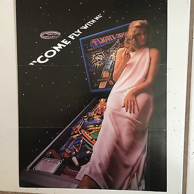 """""""Flight 2000"""" By Stern 1980  Pin Promo Brochure-Rare-""""Mint"""" In Plastic Cover"""