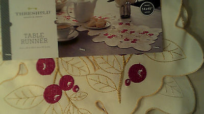 """Table Runner With Embroidered Red Cherries, & Embroidered Gold Leaves, 14"""" X 40"""""""