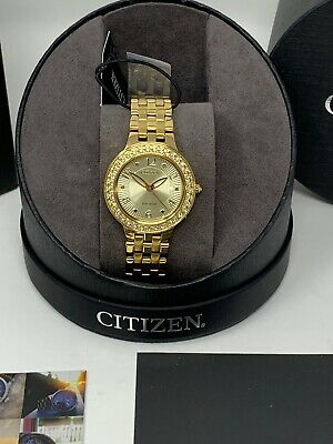 Citizen Women's Eco-Drive Gold Tone Stainless Steel Watch FE2082-51P $395