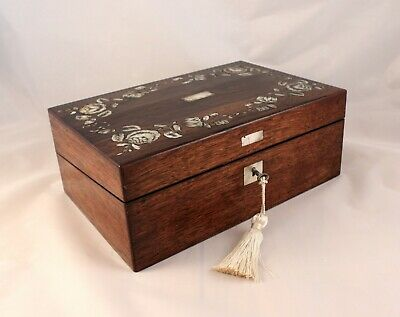 Antique M.O.P. Inlay Ladies Writing Box or Slope w/Dip Pen, Ink Wells